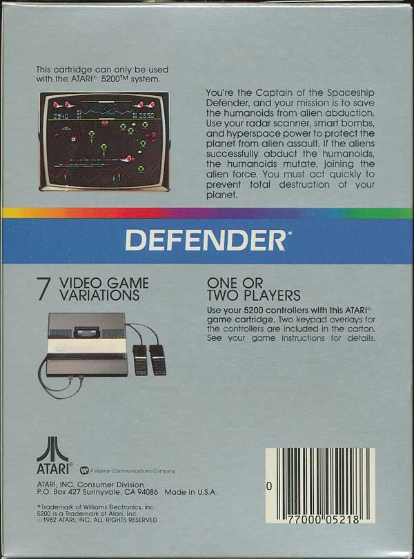 Defender (1982) (Atari) Box Scan - Back