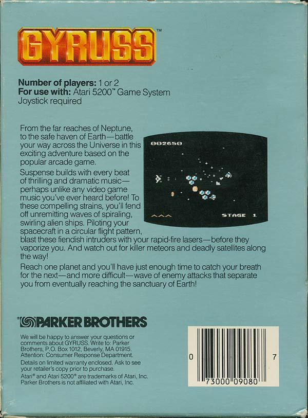 Gyruss (1982) (Parker Bros) Box Scan - Back