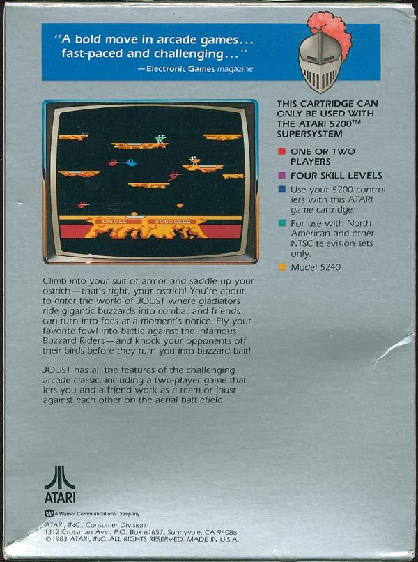 Joust (1983-84) (Atari) Box Scan - Back