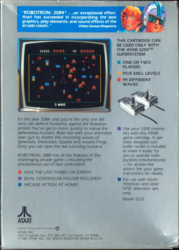 Robotron 2084 (1983) (Atari) Box Scan - Back