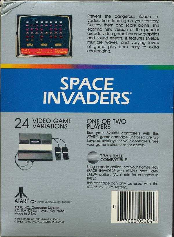 Space Invaders (1982) (Atari) Box Scan - Back
