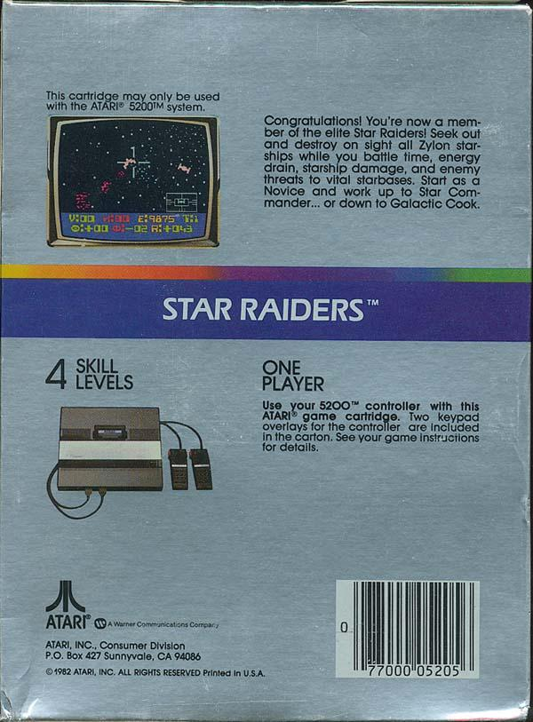 Star Raiders (1982) (Atari) Box Scan - Back