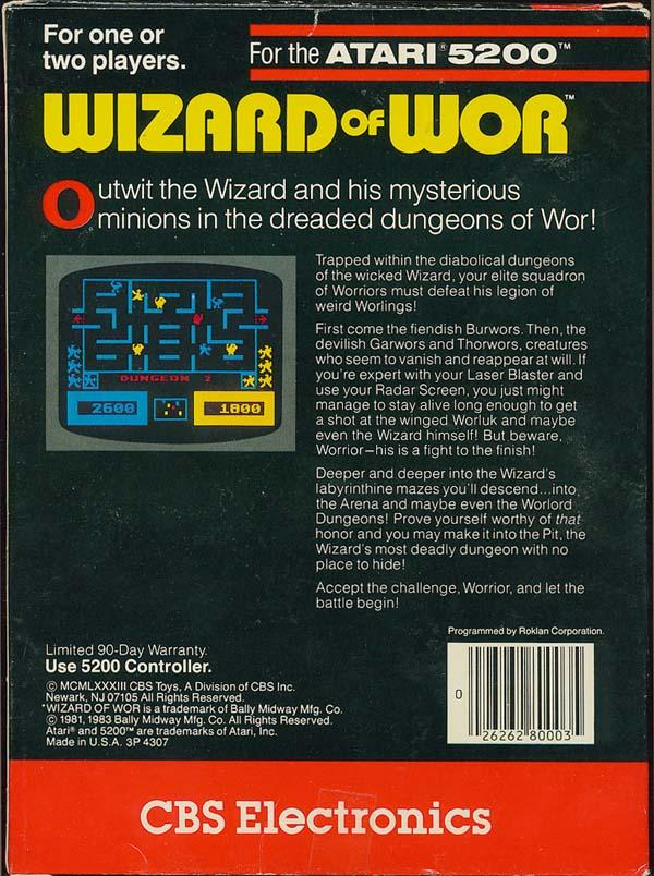 Wizard of Wor (1982) (CBS) Box Scan - Back