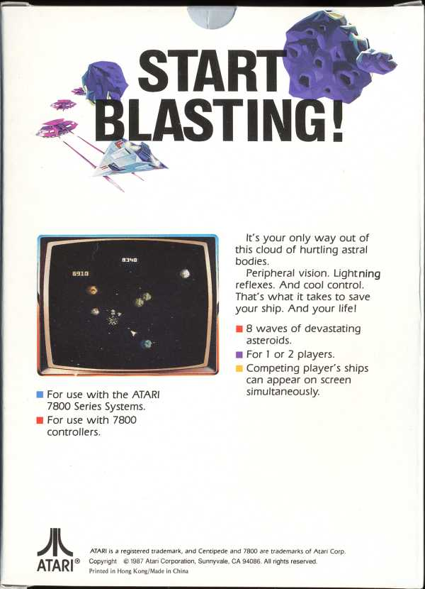 Asteroids Box Scan - Back