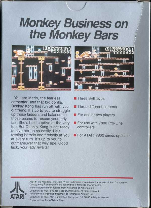Donkey Kong Box Scan - Back