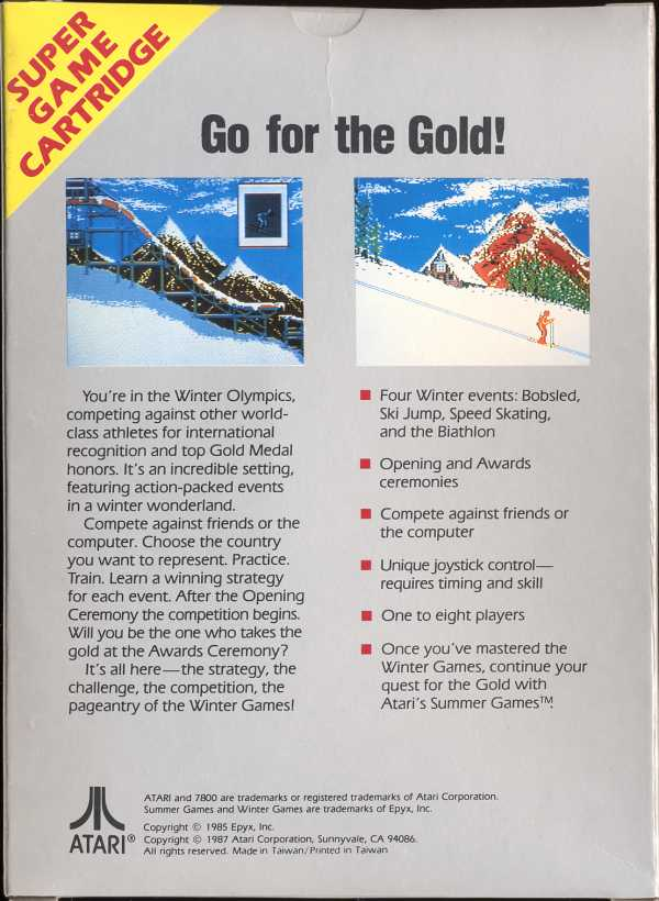 Winter Games Box Scan - Back