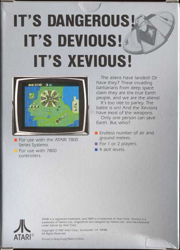 Xevious Box Scan - Back