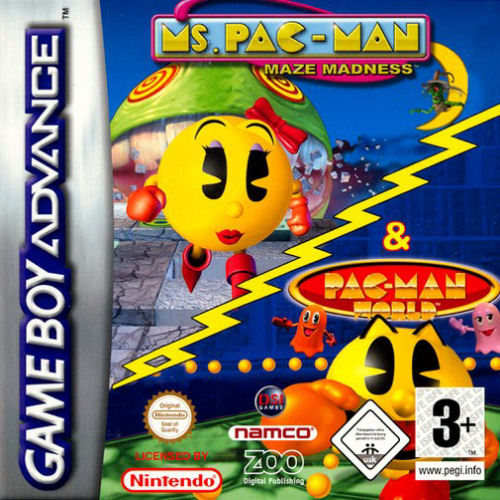 2 in 1 - Ms. Pac-Man - Maze Madness & Pac-Man World (E)(Independent) Box Art