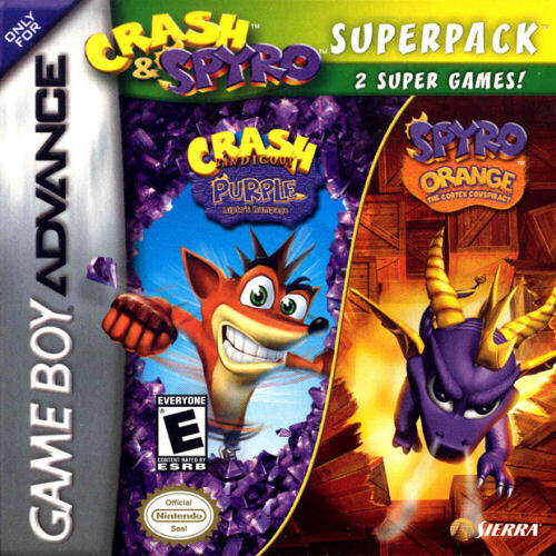 2 in 1 - Crash Bandicoot Purple - Ripto's Rampage & Spyro Orange - The Cortex