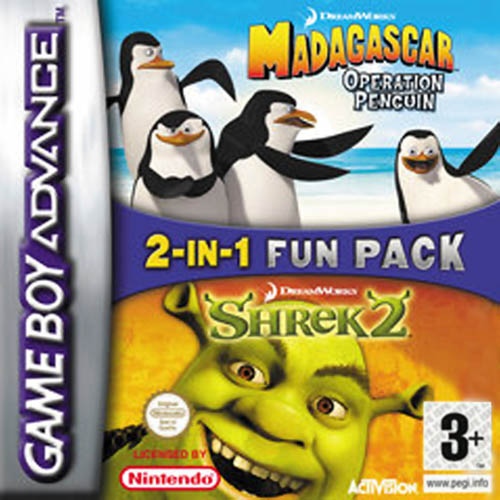 2 in 1 - Shrek 2 & Madagascar Operation Penguin (E)(Independent) Box Art