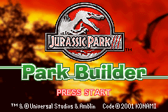 Jurassic Park III - Park Builder (U)(-Q) Title Screen