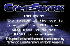 Game Shark GBA (U)(Independent) Title Screen