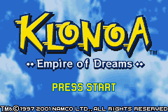 Klonoa - Empire of Dreams (E)(Rocket) Title Screen