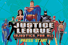 Justice League - Injustice for All (U)(Eurasia) Title Screen