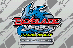 Beyblade VForce - Ultimate Blader Jam (U)(Evasion) Title Screen
