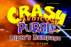 Crash Bandicoot - Purple Ripto's Rampage (U)(Venom) Title Screen