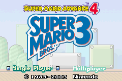 Super Mario Advance 4 - Super Mario Bros 3 (E)(Independent) Title Screen