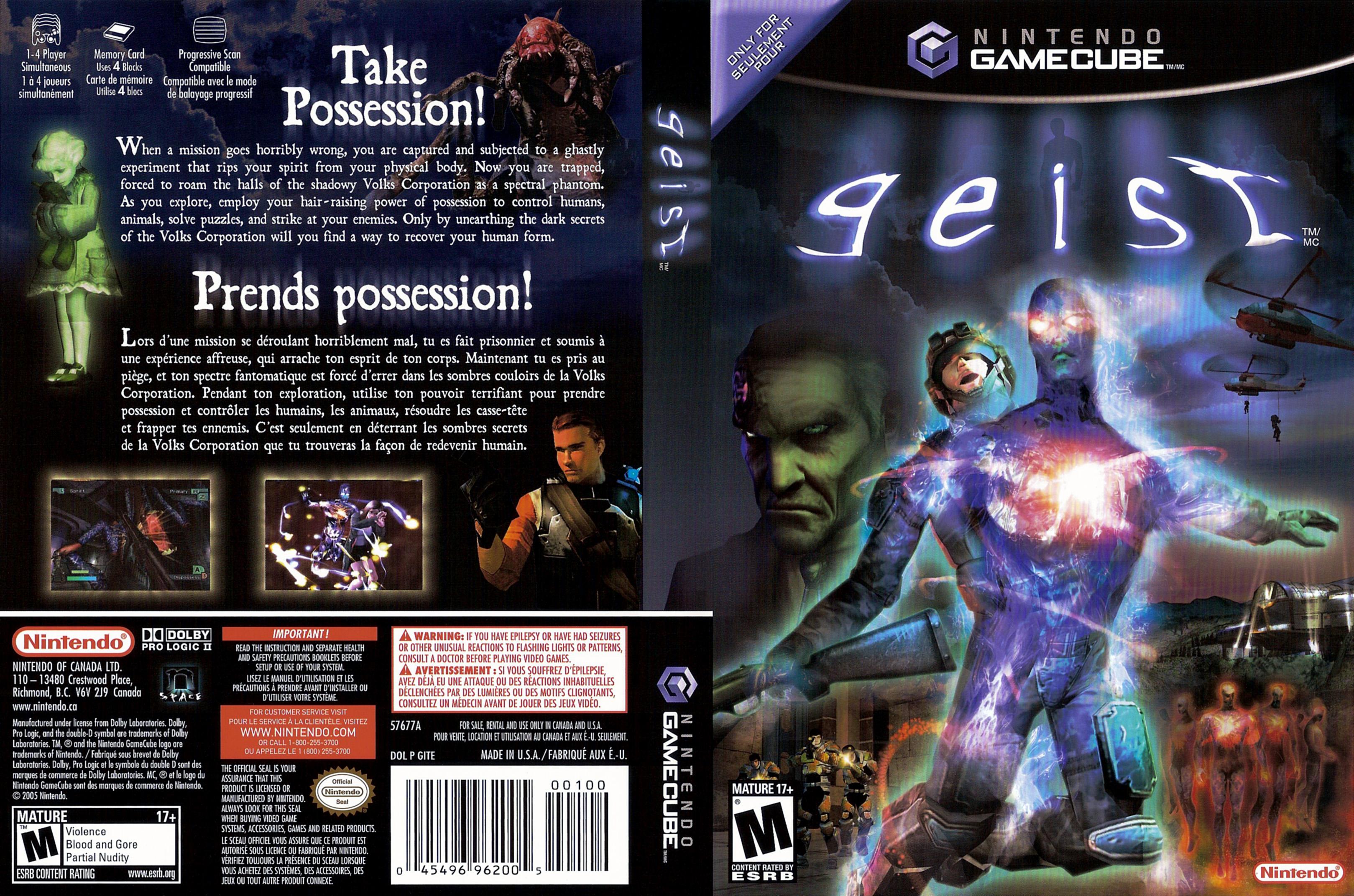 Portada y contraportada del juego Geist