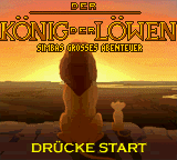 Koenig der Loewen, Der - Simbas grosses Abenteuer (Germany) Title Screen