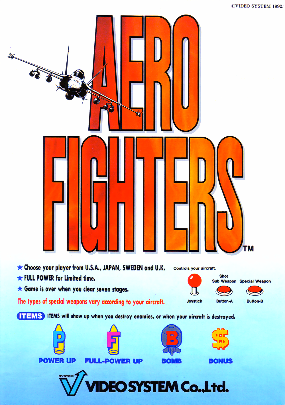 Aero Fighters (World / USA + Canada / Korea / Hong Kong / Taiwan) (newer hardware) flyer