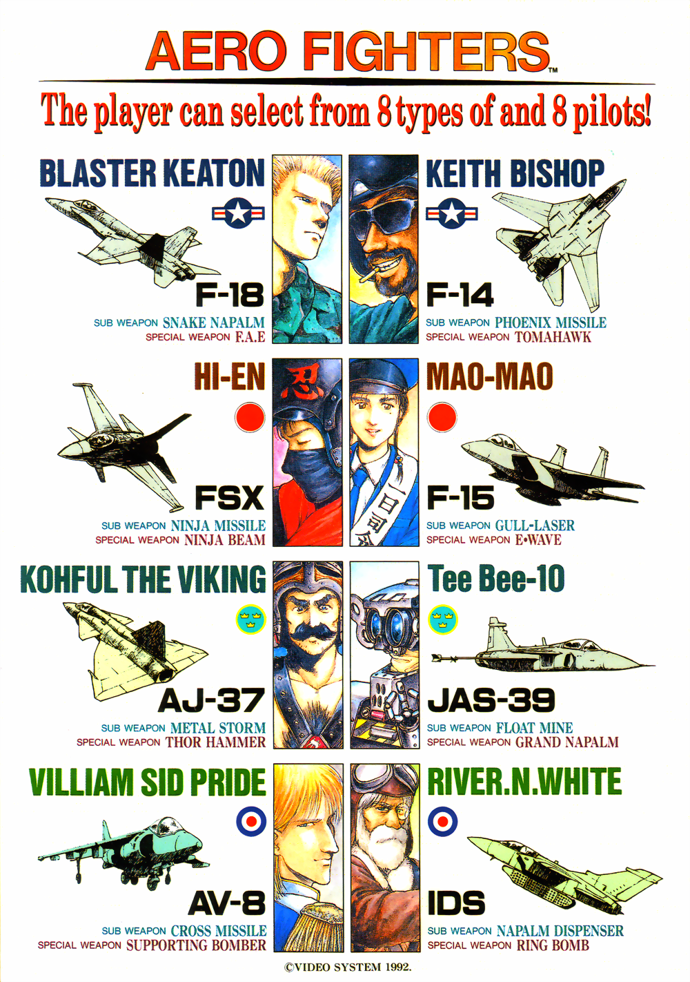Aero Fighters (Taiwan / Japan, set 1) flyer