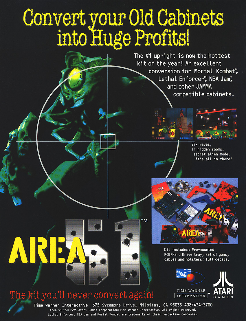 Area 51 (Atari Games license, Oct 25, 1995) flyer