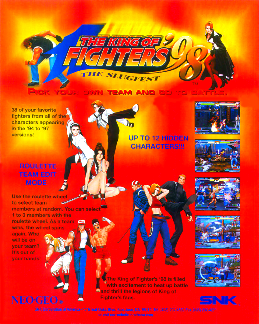 The King of Fighters '98: The Slugfest / King of Fighters '98: Dream Match Never Ends flyer