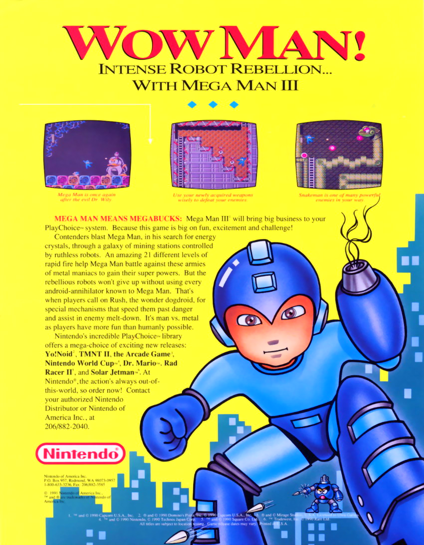 Mega Man III (PlayChoice-10) flyer