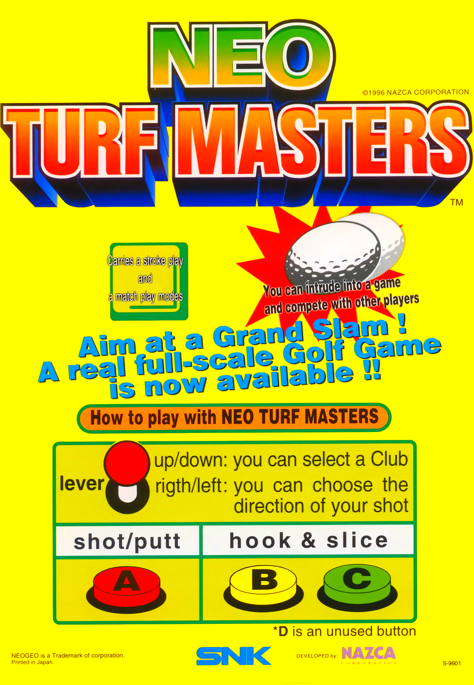 Neo Turf Masters / Big Tournament Golf flyer