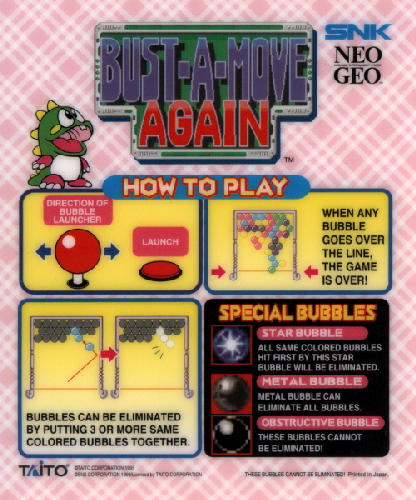 Puzzle Bobble 2 / Bust-A-Move Again Marquee