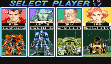 Armored Warriors (Euro 941024) select screen