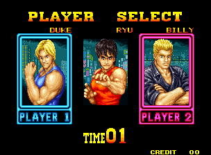 Burning Fight (Set 1) select screen