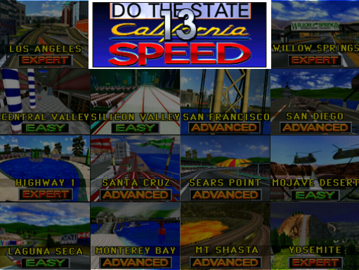 California Speed (Version 2.1a Apr 17 1998, GUTS 1.25 Apr 17 1998 / MAIN Apr 17 1998) select screen