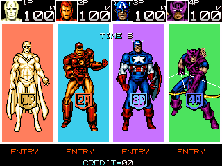 Captain America and The Avengers (Asia Rev 1.4) select screen