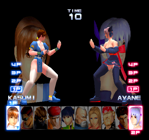 Dead Or Alive ++ (Japan) select screen