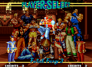 Fatal Fury 3 - Road to the Final Victory / Garou Densetsu 3 - Haruka-naru Tatakai (NGM-069 ~ NGH-069) select screen