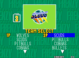 Football Frenzy select screen