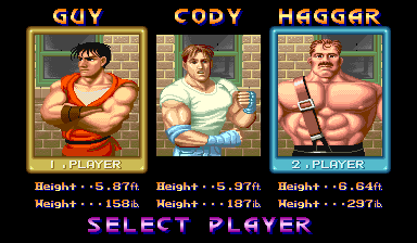 Final Fight (World, set 1) select screen