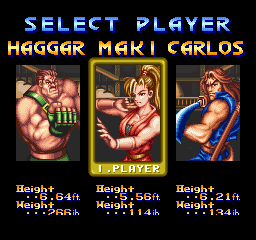Final Fight 2 (SNES bootleg) select screen