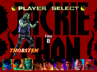 Jackie Chan in Fists of Fire select screen