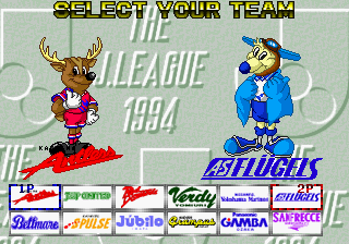 The J.League 1994 (Japan, Rev A) select screen
