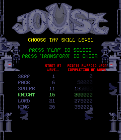 Joust 2 - Survival of the Fittest (revision 2) select screen