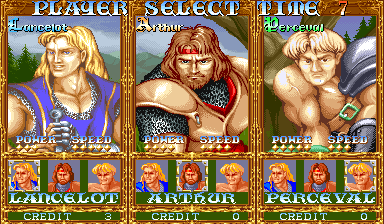 Knights of the Round (World 911127) select screen