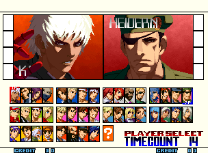 The King of Fighters 2001 (NGM-262?) select screen