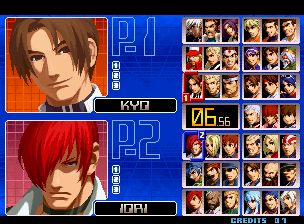 The King of Fighters 2002 select screen