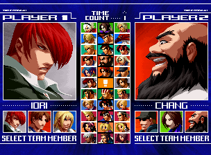 The King of Fighters 2003 (Set 1) select screen