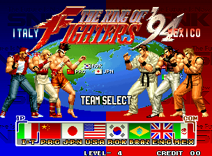 The King of Fighters '94 select screen