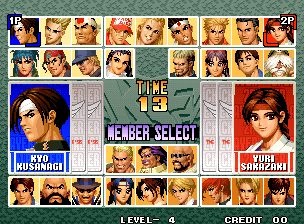 The King of Fighters '96 (Set 1) select screen