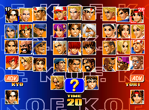 The King of Fighters '98: The Slugfest / King of Fighters '98: Dream Match Never Ends select screen