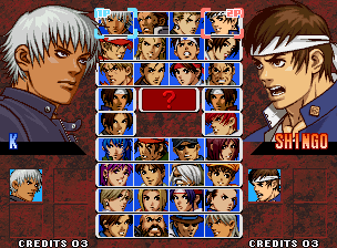 The King of Fighters '99 - Millennium Battle (NGM-2510) select screen